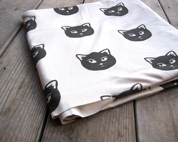 organic cotton knit fabric with cats