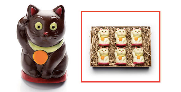 organic chocolate cats, chocolate fortune cat, organic cat-shaped chocolates, cat chocolates, chocolate cats